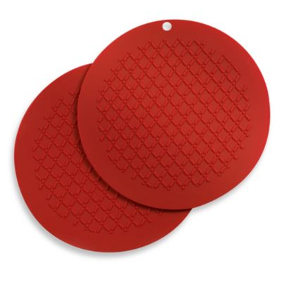 Round Silicone Pot Holder 2-Pack in Red