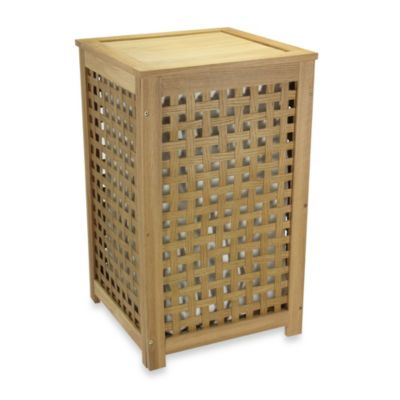 Household Essentials® Oak Lattice Hamper with Barnwood Finish