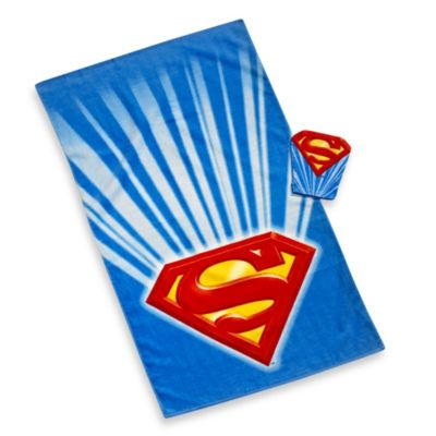 Superman Bath Towel and Wash Mitt Set
