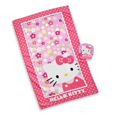 Hello Kitty Bath Towel and Wash Mitt Set