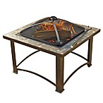 32-Inch Fire Pit with Slate Rim & Copper Accent