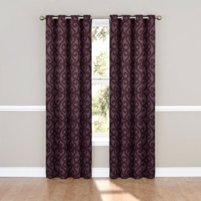 Insola Parker 63-Inch Blackout Grommet Window Curtain Panel in Aubergine