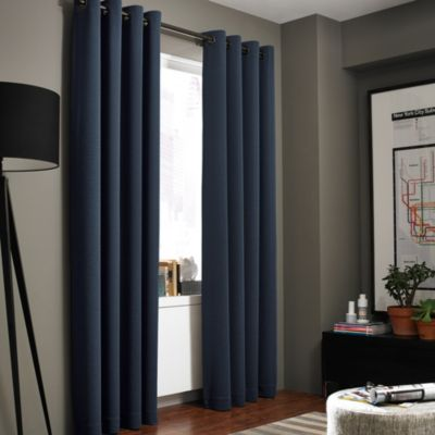 Kenneth Cole Reaction Home Gotham Texture 63-Inch Lined Grommet Window Curtain Panel in Midnight