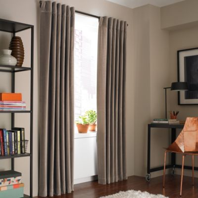 Kenneth Cole Reaction Home Soho Velvet 108-Inch Lined Window Curtain Panel in Vanilla