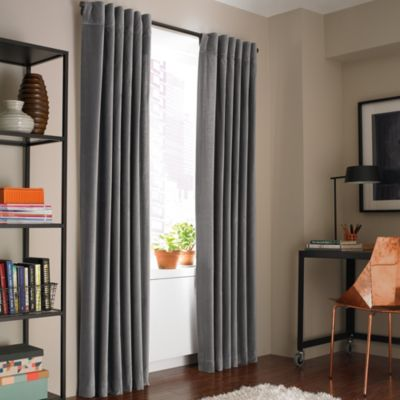Kenneth Cole Reaction Home Soho Velvet 63-Inch Lined Window Curtain Panel in Graphite