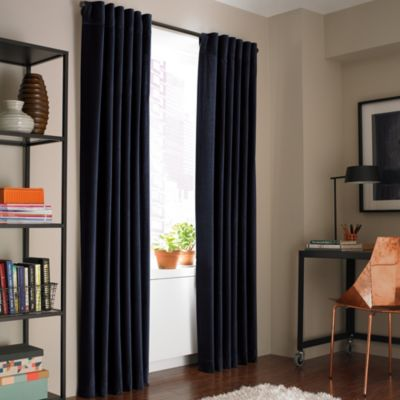 Kenneth Cole Reaction Home Soho Velvet 84-Inch Lined Window Curtain Panel in Twilight