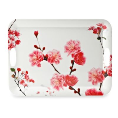 Cherry Blossom Photoreal Rectangular 19.8-Inch Tray