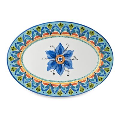 Azul Hand Painted 20-Inch Round Serving Platter