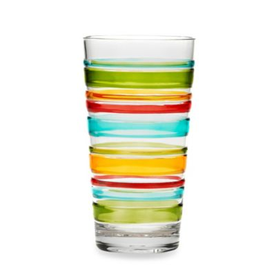 Riviera 3D Multi Stripe 21.9-Ounce Acrylic Highball Glass