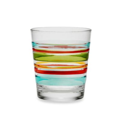 Riviera 3D Multi Stripe 16-Ounce Acrylic Double Old-Fashioned Glass