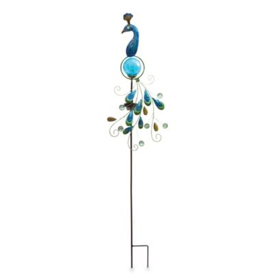 Solar-Powered Metal and Fused Glass Peacock Garden Stake