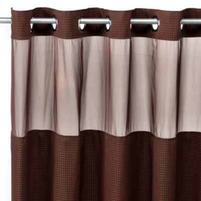 Hookless® Waffle Fabric Shower Curtain and Liner Set in Chocolate