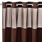 Hookless® Waffle 54-Inch x 80-Inch Stall Fabric Shower Curtain and Liner Set in Chocolate