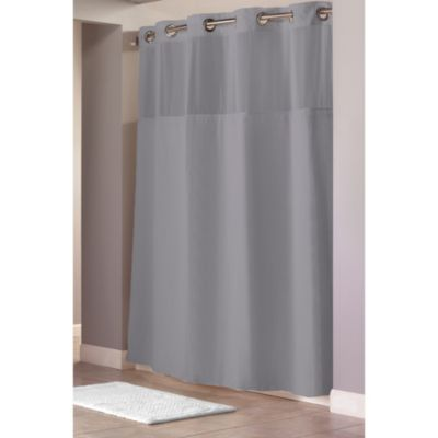 Hookless® Waffle Grey Fabric Shower Curtain and Liner Set