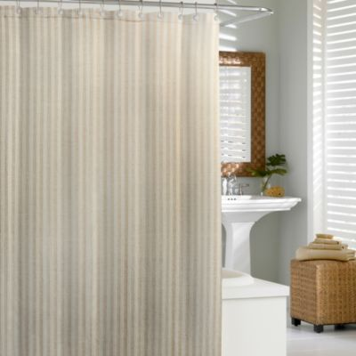 Kassatex Linen Chevron 72-Inch x 72-Inch Shower Curtain