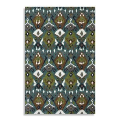 Mohawk Home Ikat Bungee Cord 5-Foot 3-Inch x 7-Foot 6-Inch Rug in Emerald