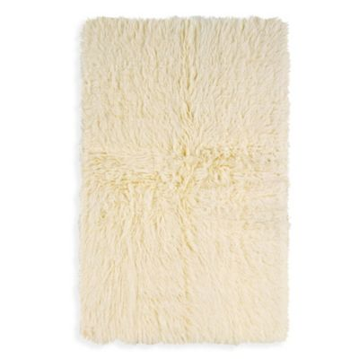 Linon Home Flokati Area Rug in Natural White