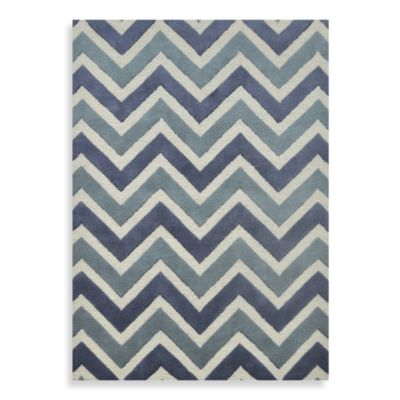 Whitman Wool Chevron Woven Rug in Ibiza Blue