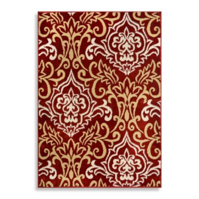 Westwood Damask Accent Rug in Red