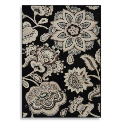 Westwood 1-Foot 6-Inch x 2-Foot 6-Inch Floral Accent Rug in Black