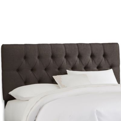 Skyline Furniture Twin Tufted Headboard in Linen Charcoal