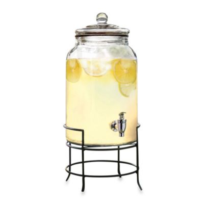 2.75-Gallon Glass Beverage Dispenser with Metal Stand