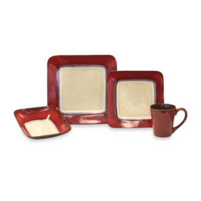 Baum Duo 16-Piece Dinnerware Set in Red