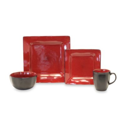 Baum Square 16-Piece Dinnerware Set in Red