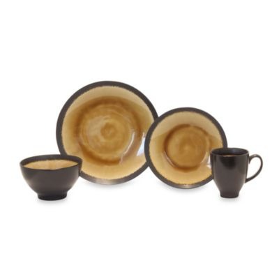 Galaxy Coupe Amber 16-Piece Dinnerware Set