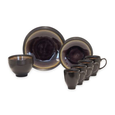 Baum Galaxy Coupe 16-Piece Dinnerware Set in Plum