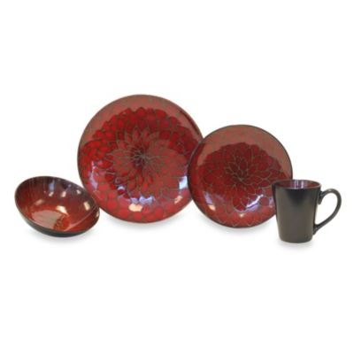 Baum Dahlia Collection 16-Piece Dinnerware Set in Red