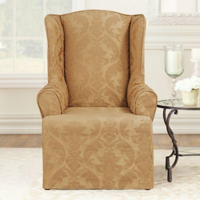 Sure Fit® Matelasse Damask Wing Chair Slipcover in White