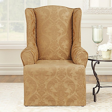sure fit matelasse damask wingback chair slipcover bed