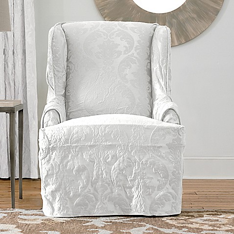 Buy Sure Fit 174 Matelasse Damask Wing Chair Slipcover In