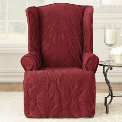 Sure Fit® Matelasse Damask Wing Chair Slipcover in Chili