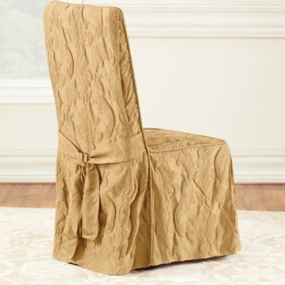 Sure Fit® Matelasse Damask One-Piece Long Arm Dining Chair Cover in Linen