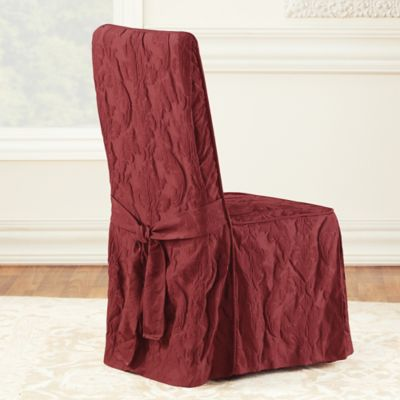 Sure Fit® Matelasse Damask One-Piece Long Arm Dining Chair Cover in Chili