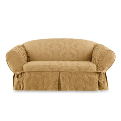 Sure Fit® Matelasse Damask 1-Piece Petite Sofa Slipcover