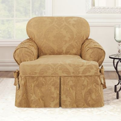 Sure Fit® Matelasse Damask T-Cushion Chair Slipcover in White
