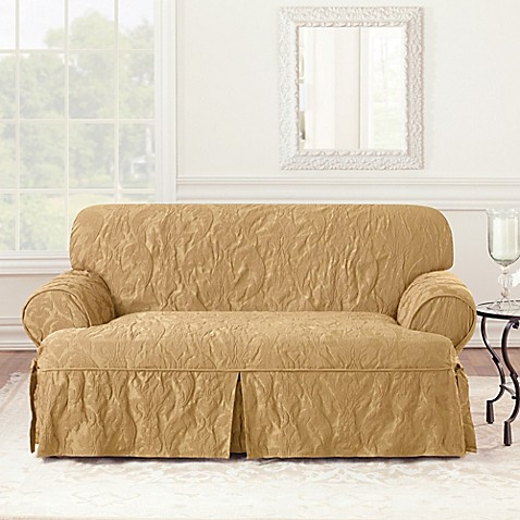Sure Fit Matelasse Damask 1 Piece T Cushion Loveseat Slipcover Bed Bath Beyond