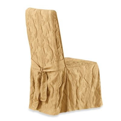 Sure Fit® Matelasse Damask Long Dining Chair Cover in Linen