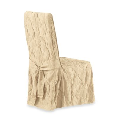 Sure Fit® Matelasse Damask Long Dining Chair Cover in Tan