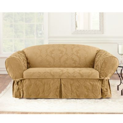 Sure Fit® Matelasse Damask 1-Piece Sofa Slipcover in White