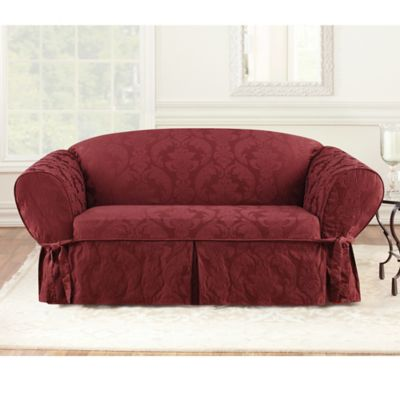Sure Fit® Matelasse Damask 1-Piece Sofa Slipcover in Chili