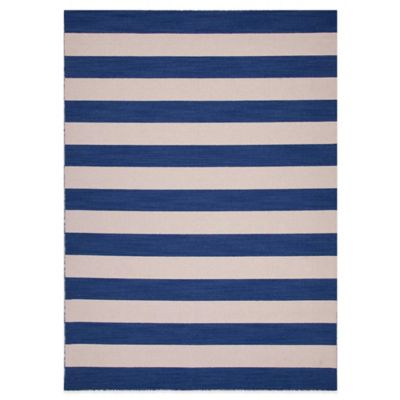 Jaipur Pura Vida 8-Foot x 10-Foot Deep Navy Striped Rug