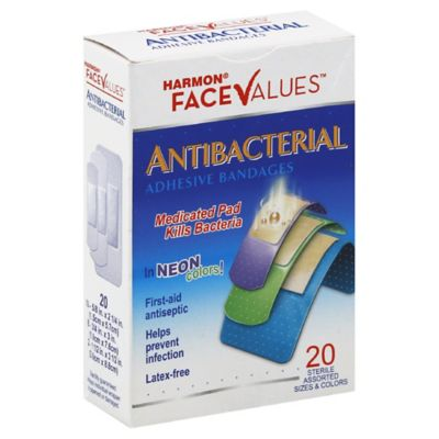 Harmon® Face Values™ 20-Count Antibacterial Adhesive Assorted-Size Bandages in Neon Colors