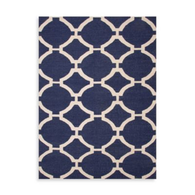 Jaipur Maroc Rafi 2-Foot 6-Inch x 8-Foot Runner in Deep Navy/Antique White