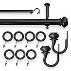 Revel Adjustable Window Curtain Rod Set in Black