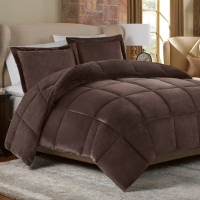 Mink Faux Fur Comforter Set in Chocolate