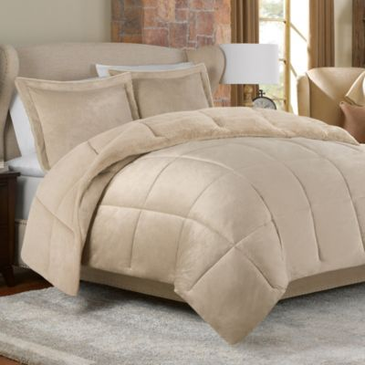 Mink Faux Fur Comforter Set in Tan